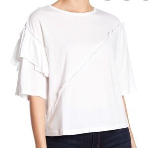 TEN SIXTY SHERMAN Ruffle Sleeve White Tee Large